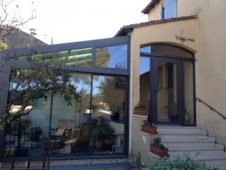 Véranda aluminium Technal toiture vitrée