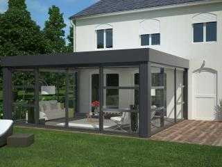 Véranda aluminium Technal à toiture plate